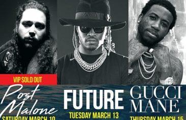@PostMalone, @1Future, & @Gucci1017 are taking over Texas for Spring Break.. @southpadretex @bigneechi